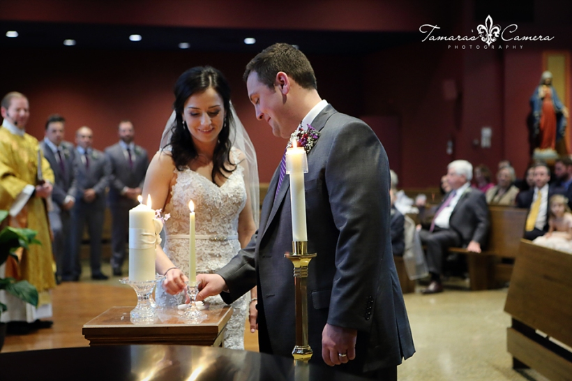 sacred heart of mary, weirton wedding photographer, pittsburgh wedding photographer, spring wedding, unity candle, church, bride and groom