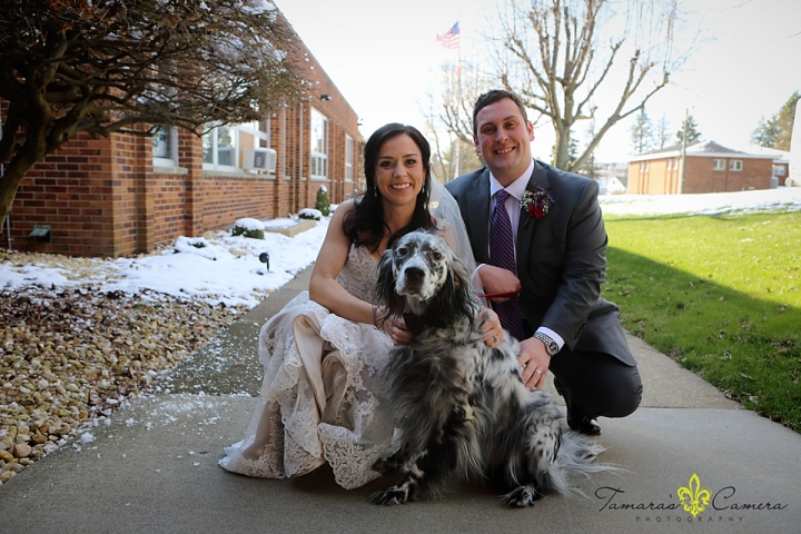 sacred heart of mary, weirton wedding photographer, pittsburgh wedding photographer, spring wedding, bride and groom, furbaby, dog